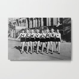 New York Girls in a line, lovely girls on the street - mid century vintage photo Metal Print