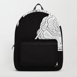 Black and White Triangle Geometric Flower Illustration Backpack