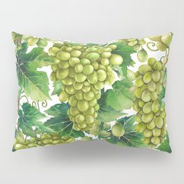 Watercolor bunches of white grapes hanging on the branch Pillow Sham