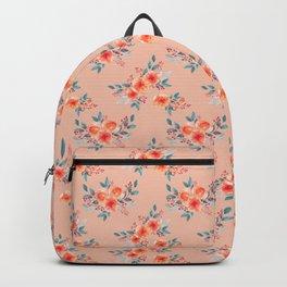 Hand painted orange teal watercolor peonies flowers Backpack