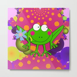 Flower Frog in a Funky Heart Metal Print