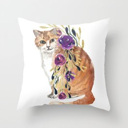 cat with flower boa Throw Pillow