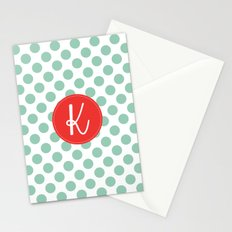 Monogram Initial K Polka Dot Stationery Cards