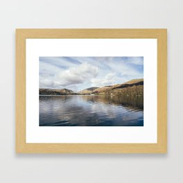 Grasmere and Helm Crag (Lion and the Lamb) beyond. Cumbria, UK. Framed Art Print