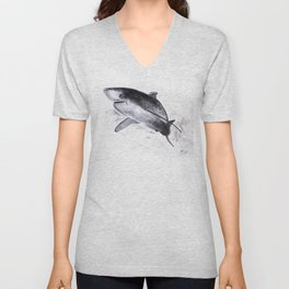 Shark, fish. drawing in oil.   Colors Minimalist Mid-Century Colors Free Abstract Colors Spaces Colo Unisex V-Neck