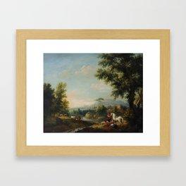Attributed to Francesco Zuccarelli (1702-1788) A pastoral river landscap Framed Art Print