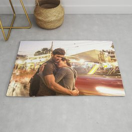 The Lovers | Timeless Night Scene Couple Embrace Romantic Hug Bright City Lights Long Exposure Rug