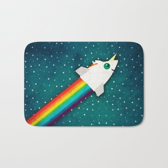 Unicorn Rainbow Rocket Bath Mat