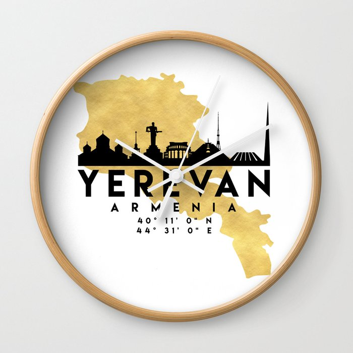 YEREVAN ARMENIA SILHOUETTE SKYLINE MAP ART Wall Clock by deificusart ...