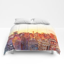 Sunshine in NYC Comforters
