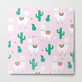 Llamas & Cactus Metal Print