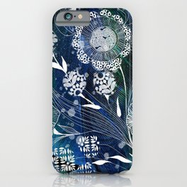 Fantasy Flowers on Feather Background iPhone Case