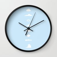 snoopy Wall Clocks featuring Famous Clouds by Glen Gould