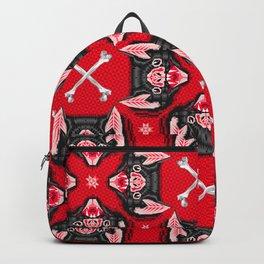 Vampire Bat Face Geometric Pattern Backpack