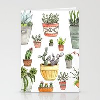 succulents Stationery Cards featuring Potted Succulents by Brooke Weeber