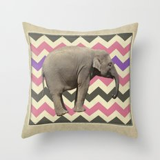 Retro elephant Throw Pillow
