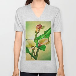 Outlined Calla Lilies Against A Green Ombre Background Unisex V-Neck