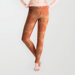 Elagant Orange Autum Leafs Pattern Design Leggings