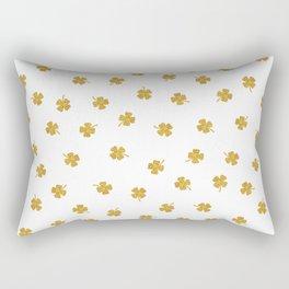 Golden Shamrocks White Background Rectangular Pillow