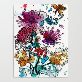 Floral watercolor abstraction Poster