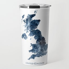 United Kingdom Map Watercolor Blue by zouzounioart Travel Mug