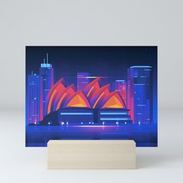 Synthwave Neon City #22: Sidney Mini Art Print