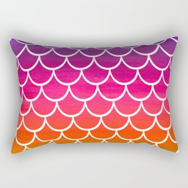 Rainbow Mermaid Scales Rectangular Pillow