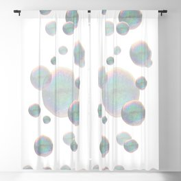FLOATING IRIDESCENT SOAP BUBBLES ON WHITE ART Blackout Curtain