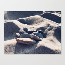 Sandy beach stones - Summertime! Canvas Print
