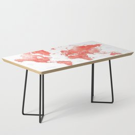 Living coral watercolor world map with cities Coffee Table