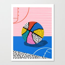 Dish - memphis art print, basketball art print, sports art print, 80s art prints, retro art Canvas Print