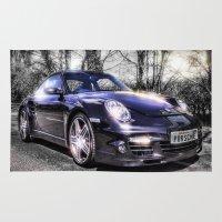 porsche Area & Throw Rugs featuring Porsche by ian hufton
