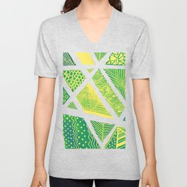 Geometric doodle pattern - green and yellow Unisex V-Neck