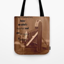Life Is Like A Camera Lens Tote Bag