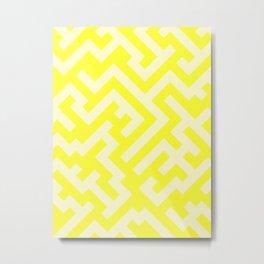Cream Yellow and Electric Yellow Diagonal Labyrinth Metal Print