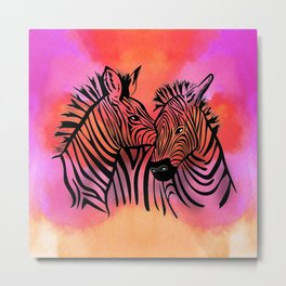 portrait of two zebras together illustration colorful watercolor background Metal Print