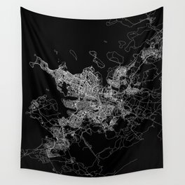 Reykjavik Black Map Wall Tapestry