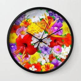 Exotic Flowers Colorful Explosion Wall Clock