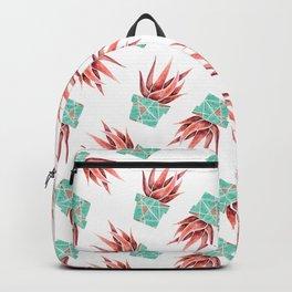 Aloe Vera Plant, Geometric, Coral, Mint, Rose Gold Backpack