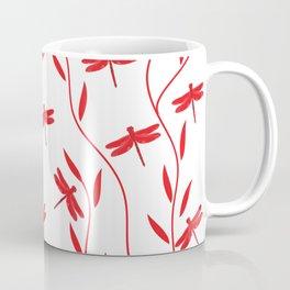 Drawing Vector Nature Red Dragonfly Coffee Mug