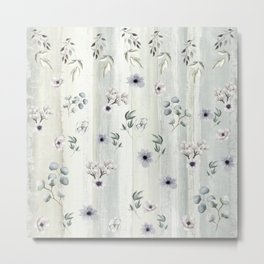 Winter Watercolor Flowers and Leaves Metal Print
