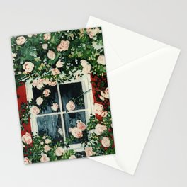 Cat In Window Of Roses Stationery Cards
