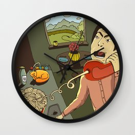 Asian kitchen, noodles and cat Wall Clock