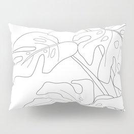 Line Art Monstera Leaves Pillow Sham