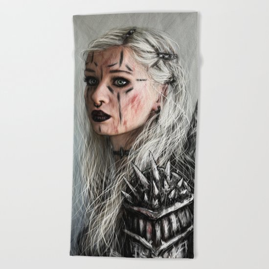 Alone but Free: Medieval Portrait of a Goth Girl Beach Towel
