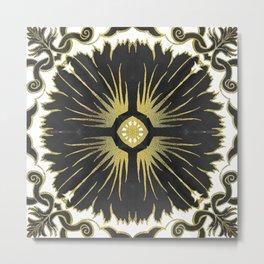 Azulejos - Portuguese Tiles Black and Gold Metal Print