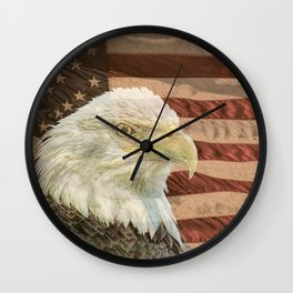 Rustic Bald Eagle on American Flag A213 Wall Clock