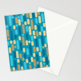 Morningside Heights Mid Century Modern Pattern in Peacock Blue and Gold Stationery Cards