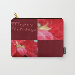 Mottled Red Poinsettia 2 Happy Holidays Q10F1 Carry-All Pouch