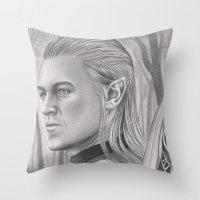 archer Throw Pillows featuring Elf Archer by aurelia-art